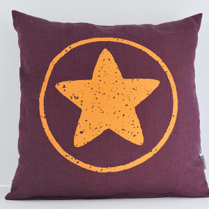cushion purple with orange star