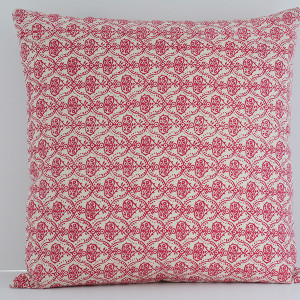 cushion white with pink floral
