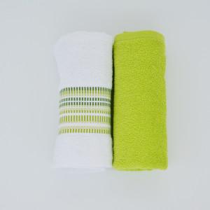 KASA HAND TOWEL WHITE-GREEN