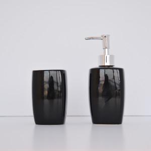 KASA SOAP DISPENSER BLACK + KASA BLACK GLASS