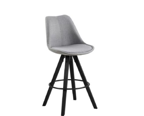 Dima barstool black legs light grey fabric jpg